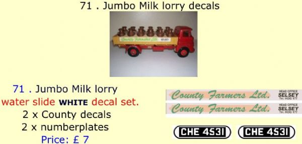 71 . Tri-ang Jumbo Milk lorry decals